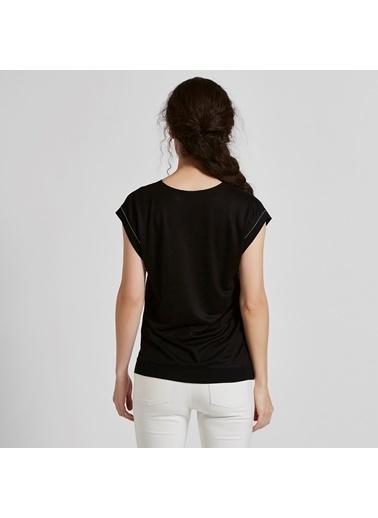 Vekem-Limited Edition V Yaka Japone Kol Bluz Siyah